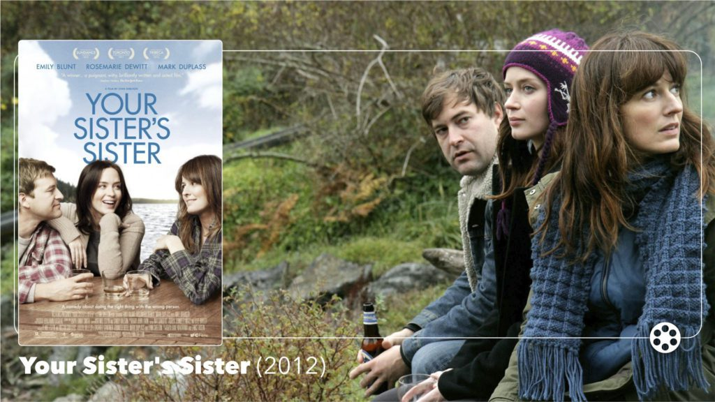Your Sister's Sister (2012) lobby card • directed by Lynn Shelton and starring Mark Duplass, Emily Blunt, and Rosemary DeWitt